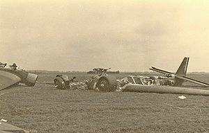 German Junkers 52 transport, destroyed on the ground at a Den Haag airfield by Dutch infantry.